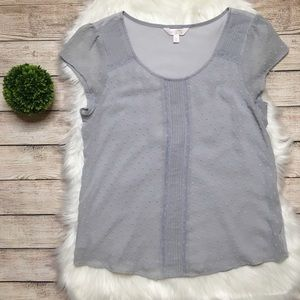 LC Lauren Conrad Gray Cap Sleeve Top Size Large